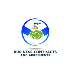 Business agreement for contract logo design vector