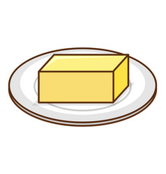 Butter stick on round plate on white background vector