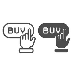 Buy button line and glyph icon online shop vector