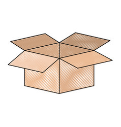Cardboard box opened in colored crayon silhouette vector