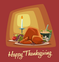 cartoon thanksgiving dish menu combination turkey vector image