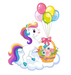 cartoon unicorn with flower basket vector image