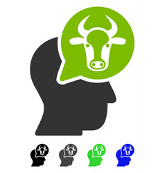 Cattle thinking person flat icon vector