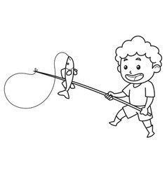 child catches blue fish using a fishing rod vector image