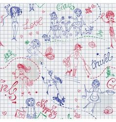 Childish style hand drawn seamless pattern vector
