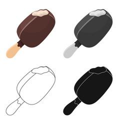 Chocolate eskimo pie icon in cartoon style vector