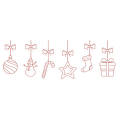 christmas hanging thin line ornaments background vector image