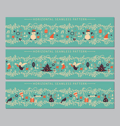 christmas horizontal seamless border set vector image