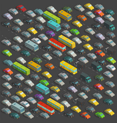 city horrendous traffic jams isometric projection vector image