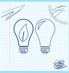 classic lamp and light bulb with leaf inside line vector image