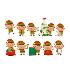 collection of happy cute christmas elf isolated vector image