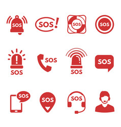 collection red flat sos icons or symbols vector image