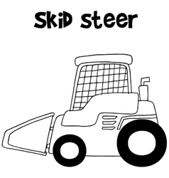 Collection skid steer hand draw vector image