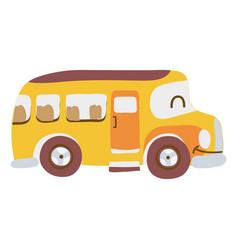 Colorful kawaii smile school bus transport vector
