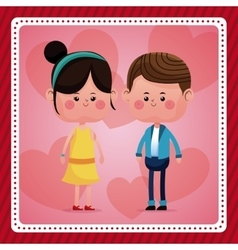 couple together smile pink hearts background vector image