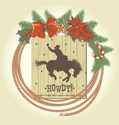 cowboy christmas wreath with western cowboy lasso vector image