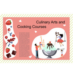 Culinary art and cooking courses poster vector