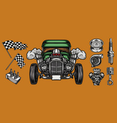 custom car and auto parts concept vector image