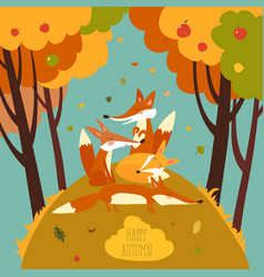 Cute foxes in autumn forest vector