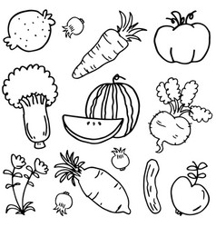 Doodle of vegetable and fruit vector