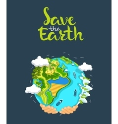 Earth day concept Human hands holding floating vector image