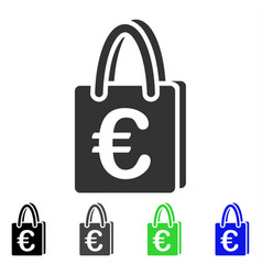 Euro shopping bag flat icon vector