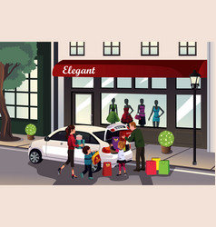 family loading shopping stuff into the car vector image