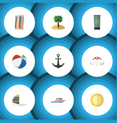 Flat icon summer set of recliner surfing boat vector