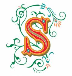 floral letter s vector image vector image