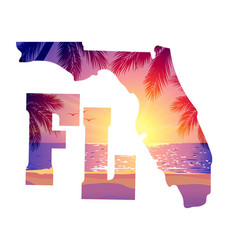 Florida state with text beach sunset vector