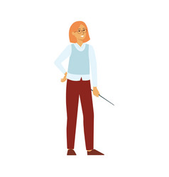 Full length professional teacher woman with vector
