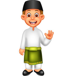 Funny boy in malay ethnic clothes cartoon vector