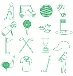 golf sport simple green outline icons set eps10 vector image