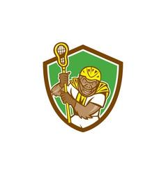 Gorilla Lacrosse Player Shield Cartoon vector image