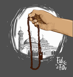 Hand praying mosque drawn on black vector