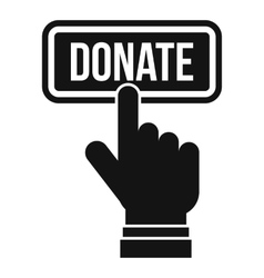 Hand presses button to donate icon simple style vector