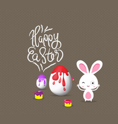 happy easter with bunny eggs painting colorful vector image