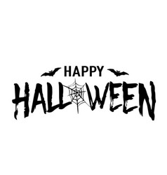 happy halloween text banner silhouette vector image
