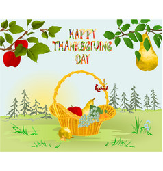 Happy thanksgiving day card beautiful autumn vector