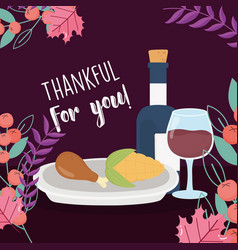 Happy thanksgiving day dinner wine bottle corn and vector