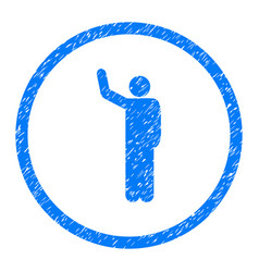 Hello person pose rounded grainy icon vector