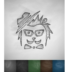 Hipster hedgehog icon Hand drawn vector