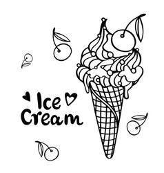 Ice cream with cherry summertime concept flat sty vector