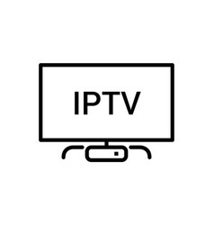 iptv line icon ip tv video channel box vector image