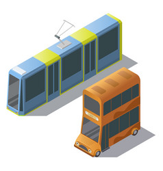 Isometric double decker bus and tram vector