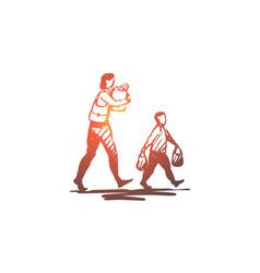 Kid good manners boy bag mom concept vector