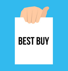 man showing paper best buy text vector image