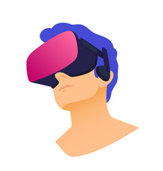 Man wearing virtual reality headset abstract vr vector