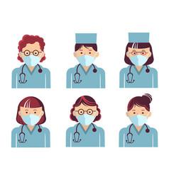 Medical workers symbol avatars doctors portrait vector