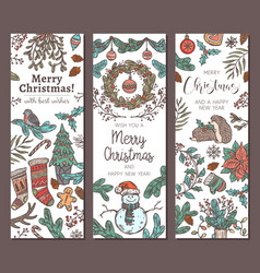 merry christmas and happy new sketch banners vector image